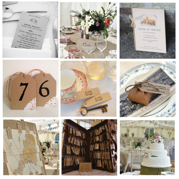 wedding stationery invitations vintage rustic table plan tags