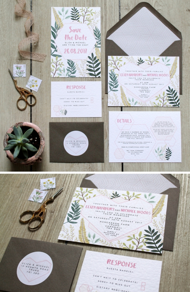 succulent, geometric, geo heart, leafy, botanical , pink, grey, greens, floral, watercolour, blush, wedding invitation, invitations, stationery, response, rsvp,