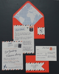 airmail wedding invitations invite invites invitation par avion destination map plane aeroplane postmark abroad foreign world vintage rustic recycled save the date tag rsvp table number well wishes guest book