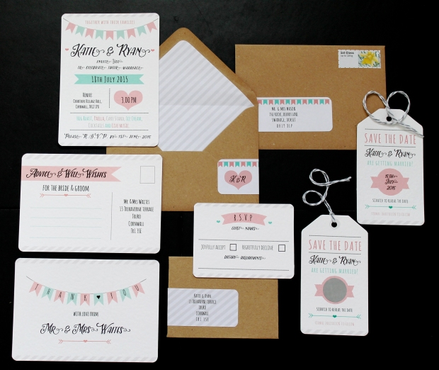 wedding invite invites invitation invitations summer fete fayre fair carnival village hall marquee bunting flags chevron mint pink grey graphics modern contemporary manilla well wishes guest book thank you card save the date a7 rsvp scratch panel save the date s