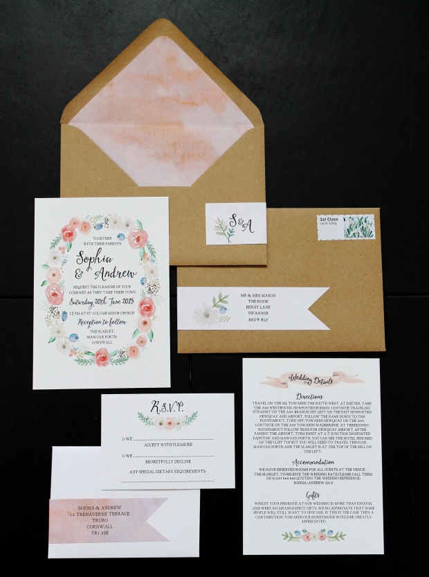 watercolour wash washed scroll ribbon flral flower bookmark wreath painted manilla gold pastel pastels pale pink peony peonies roses foliage rose fern manilla wedding invitation invitations invite invites rsvp save the date stationery cornwall uk
