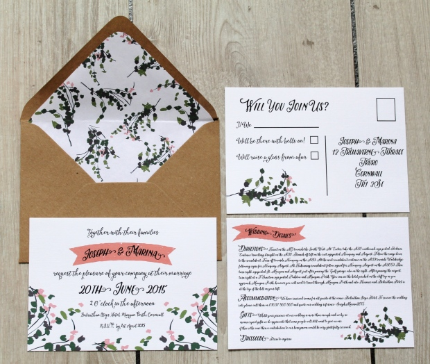 fresh florals flowers folliage green pink coral meadow field festival village country wedding invite invitation save the date tag scratch panel envelope liner rustic eco cornwall stationery uk