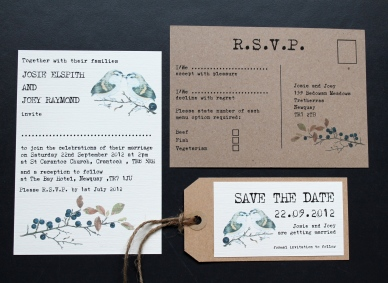 wedding invitation invitations invite invites rustic eco postcard unusual contemporary rsvp cornwall laura likes uk tree heart cute yellow carving leaves nature field orchard country birds berry berries branches wood woodland typewriter