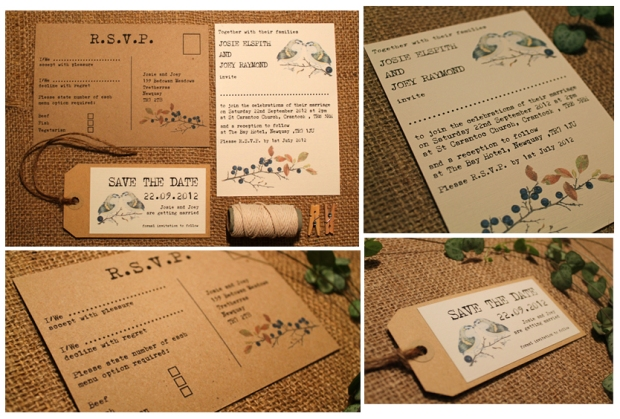 Birds wedding invitation rustic woodland fairytale whimsical wedding