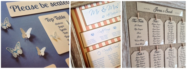 wedding table plan seating plan butterfly butterflies candy stripe seashell nautical beach lace hessian burlap pegs