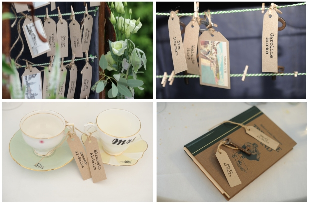 vintage wedding locks keys tea cups pegs suitcase table plan place cards
