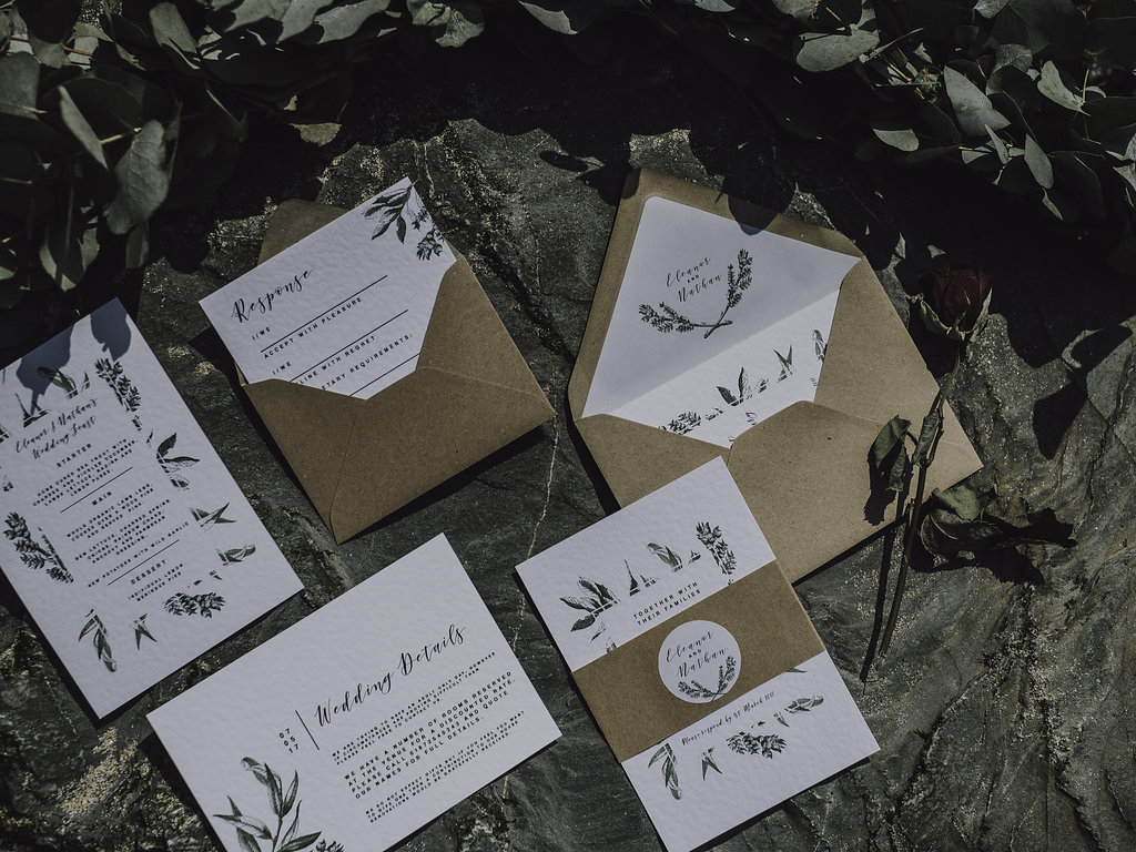 Cornish cornwall rustic kinfolk nordic simple wild beach pastels greenery foliage elegant boho bohemian simple invite invitation invitations stationery stationary wedding menu place card rsvp rugged scandi