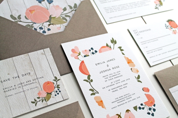 peonies blush grey peony floral rustic vintage modern contemporary invitation invite invitations invites stationery stationary wedding Cornwall save the date rsvp envelope liner pink Cornish laura likes