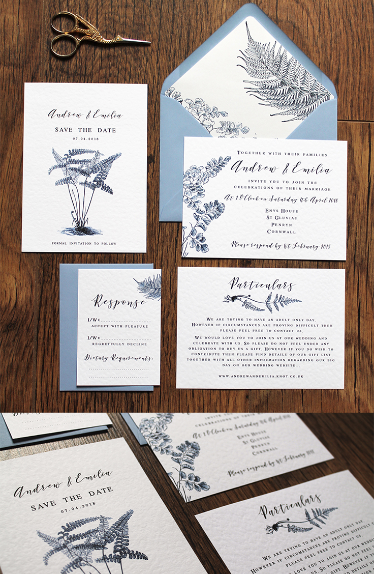 botanical vintage nature leaves ferns blue wedding stationery stationary invitation invite laura likes Cornwall leafy delicate foliage save the date calligraphy