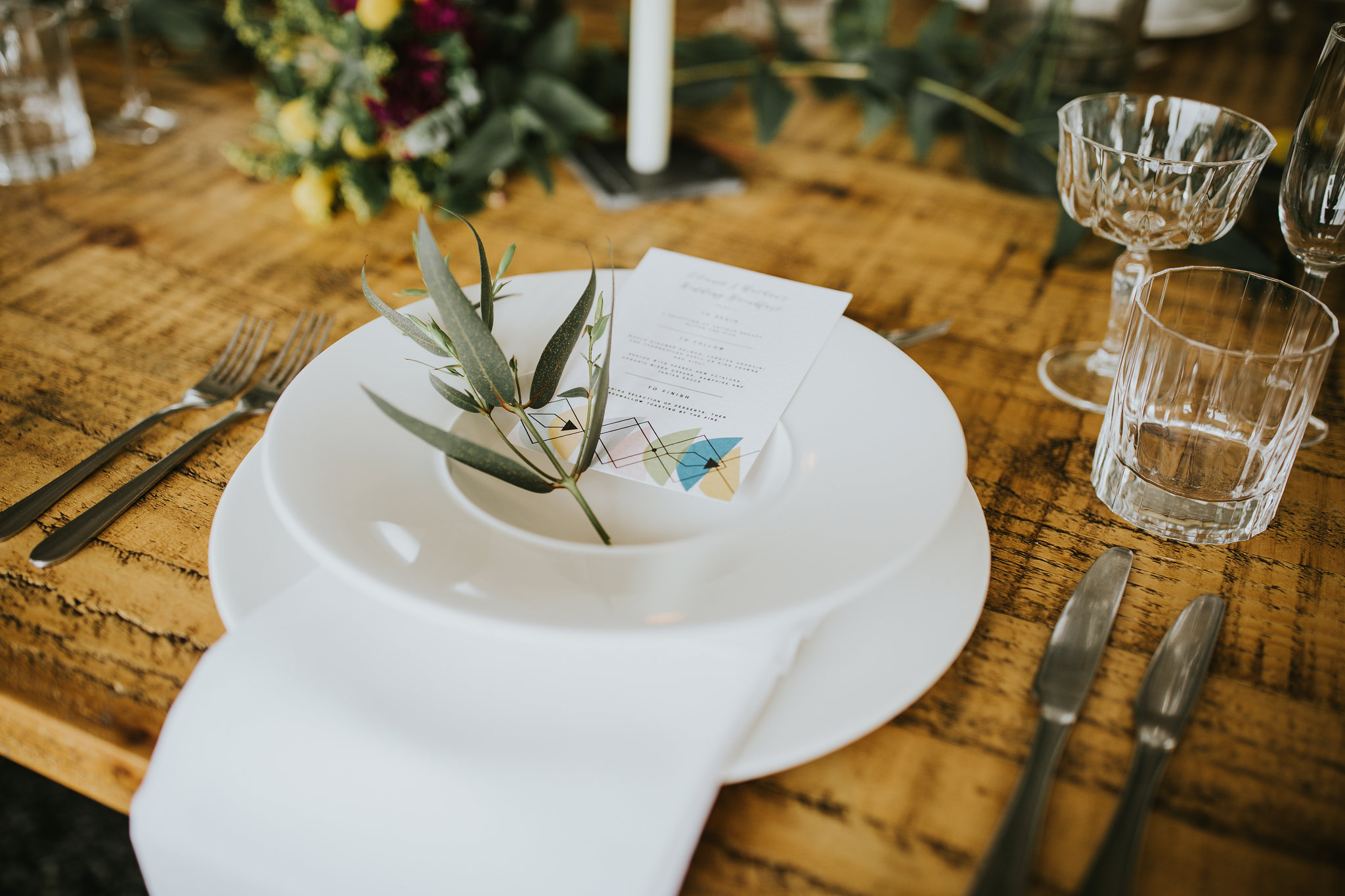 wedding menu, wedding breakfast, table setting, wedding stationery, Cornwall, Cornish, Laura Likes