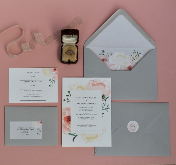 soft watercolour muted subtle roses peonies rose peony watercolour wedding invitation invitations invites invite stationery Cornwall Cornish rsvp envelope liner grey blush pink stem foliage