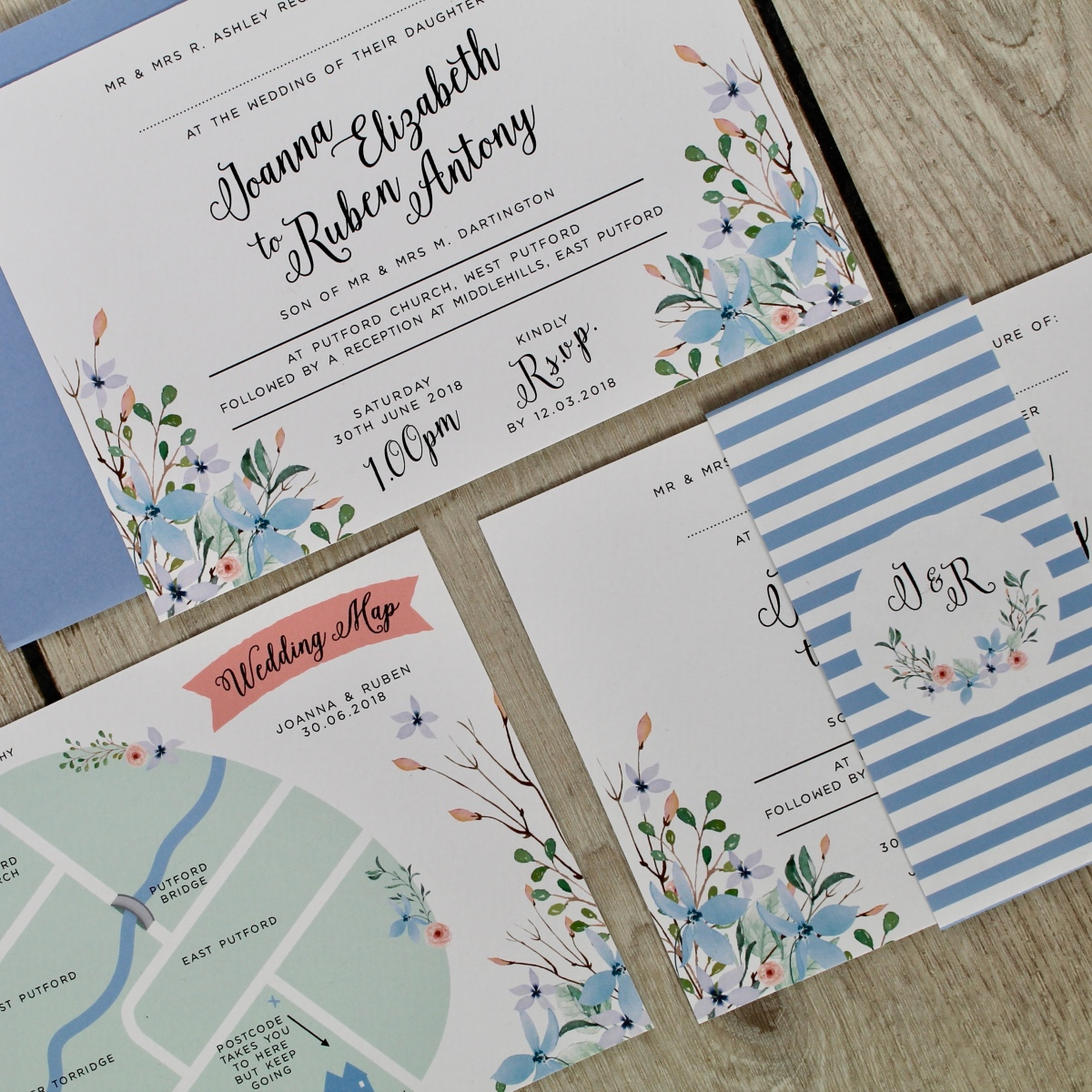 wedding invitation, wedding invitations, wedding , invite, invites, wedding map, forest, enchanted, blue, violet, wild, overgrown, floral, watercolour, calligraphy, hand lettering, stationery, stationary, cornwall, Laura likes