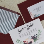 wedding invitation, wedding invitations, wedding , invite, invites, wedding, magenta, Burgundy, foliage, winter, rich, berries, subtle, floral, watercolour, calligraphy, hand lettering, stationery, stationary, cornwall, Laura likes