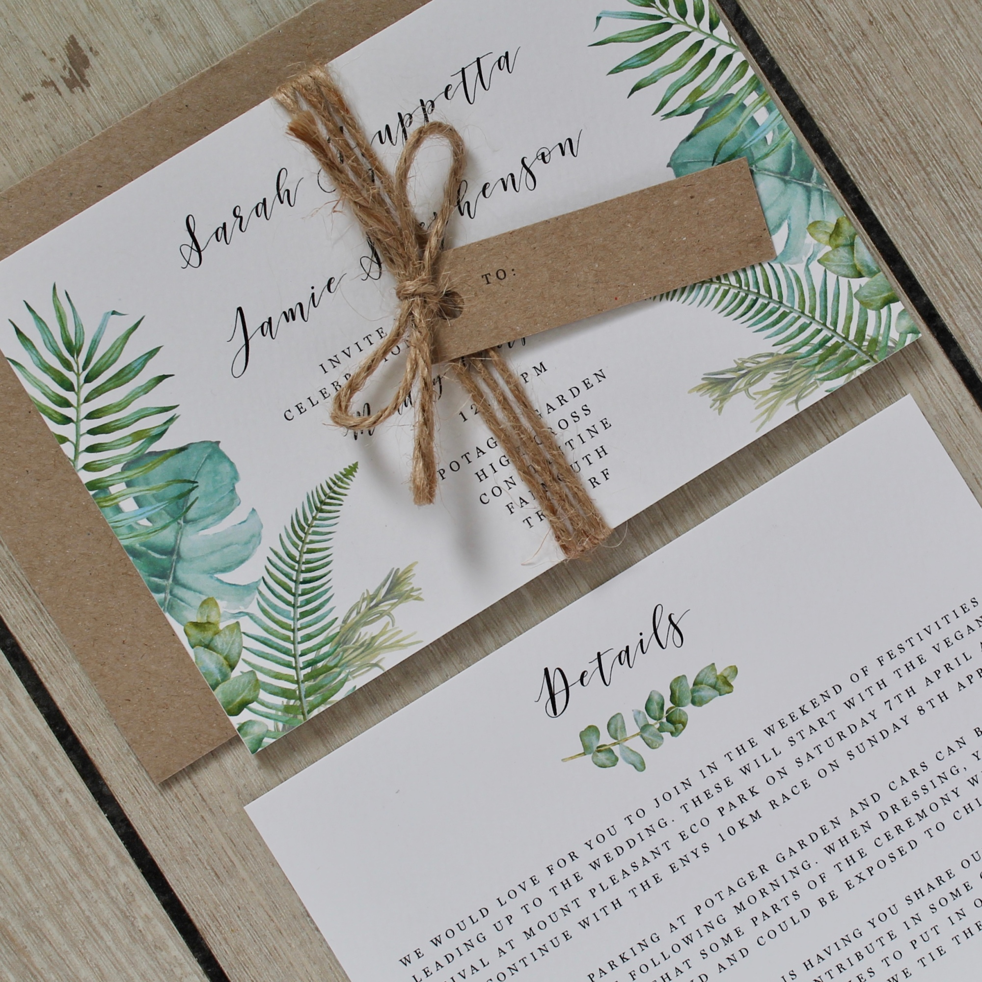 big leaf, foliage, exotic, tropical, gardens, greenhouse, lush, green and white, rustic, wedding, invitations, stationery, stationary, invites, cornwall, Cornish, calligraphy, watercolour, floral, Laura likes