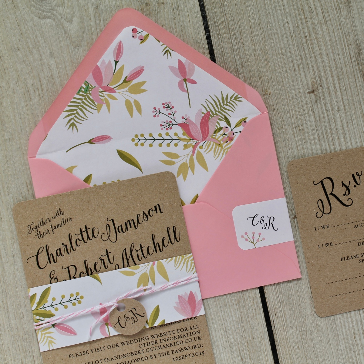 pink, magnolia, floral, bold, bright, colourful, rustic, Kraft, calligraphy, wedding, invitations, invites, stationery, stationer, stationary, rsvp, cornwall, Cornish, laura likes