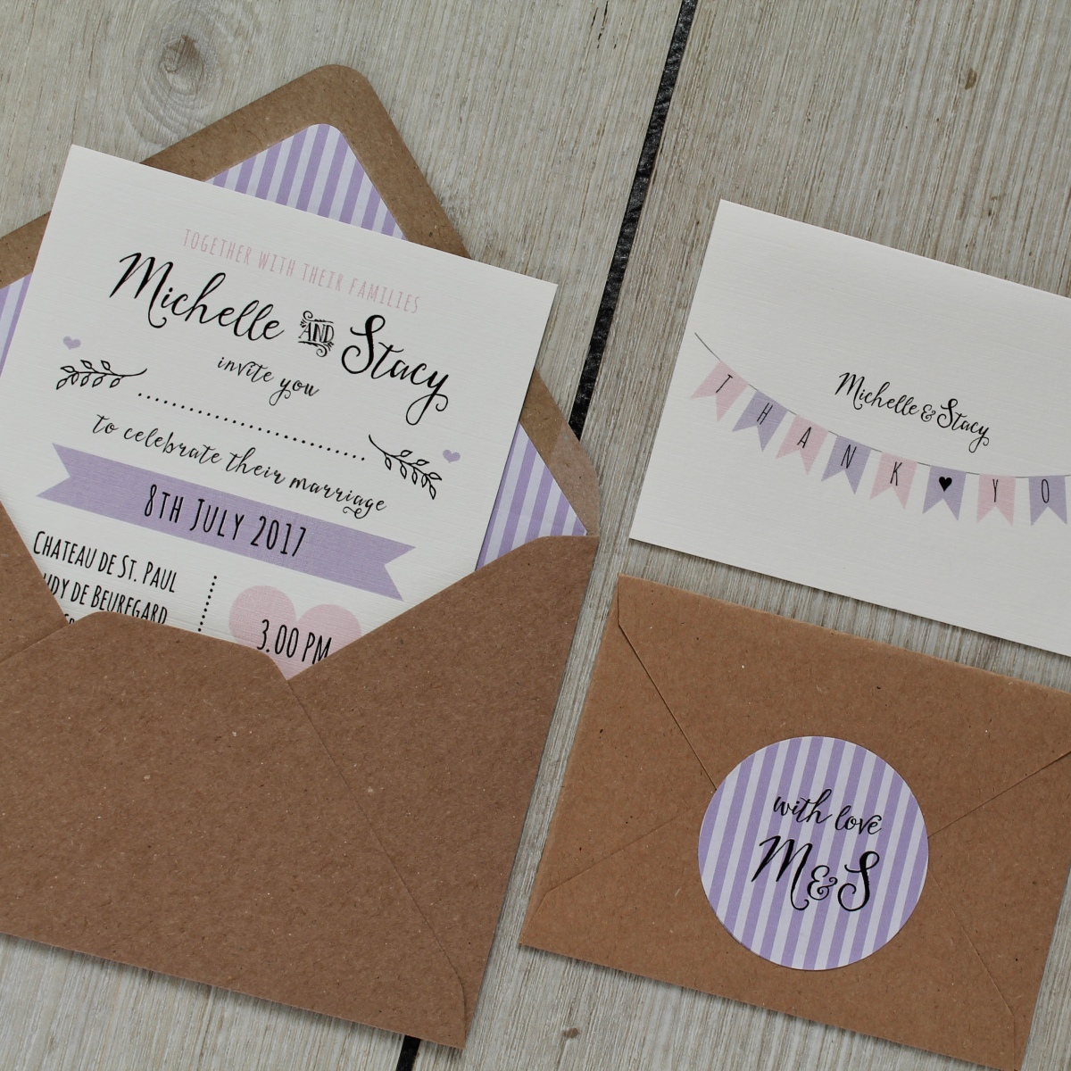 lilac, lavender, fun, bunting, pretty, pastel, stripes, wedding, invitation, invite, stationery, stationary, stationer, cornwall, Cornish, Laura likes