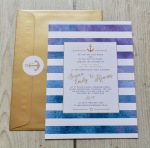 nautical, stripes, watercolour, turquoise, purple, gold, anchor, wedding, stationery, stationary, invites, invitations, contemporary, quality, cornwall, Cornish, Truro, Laura likes