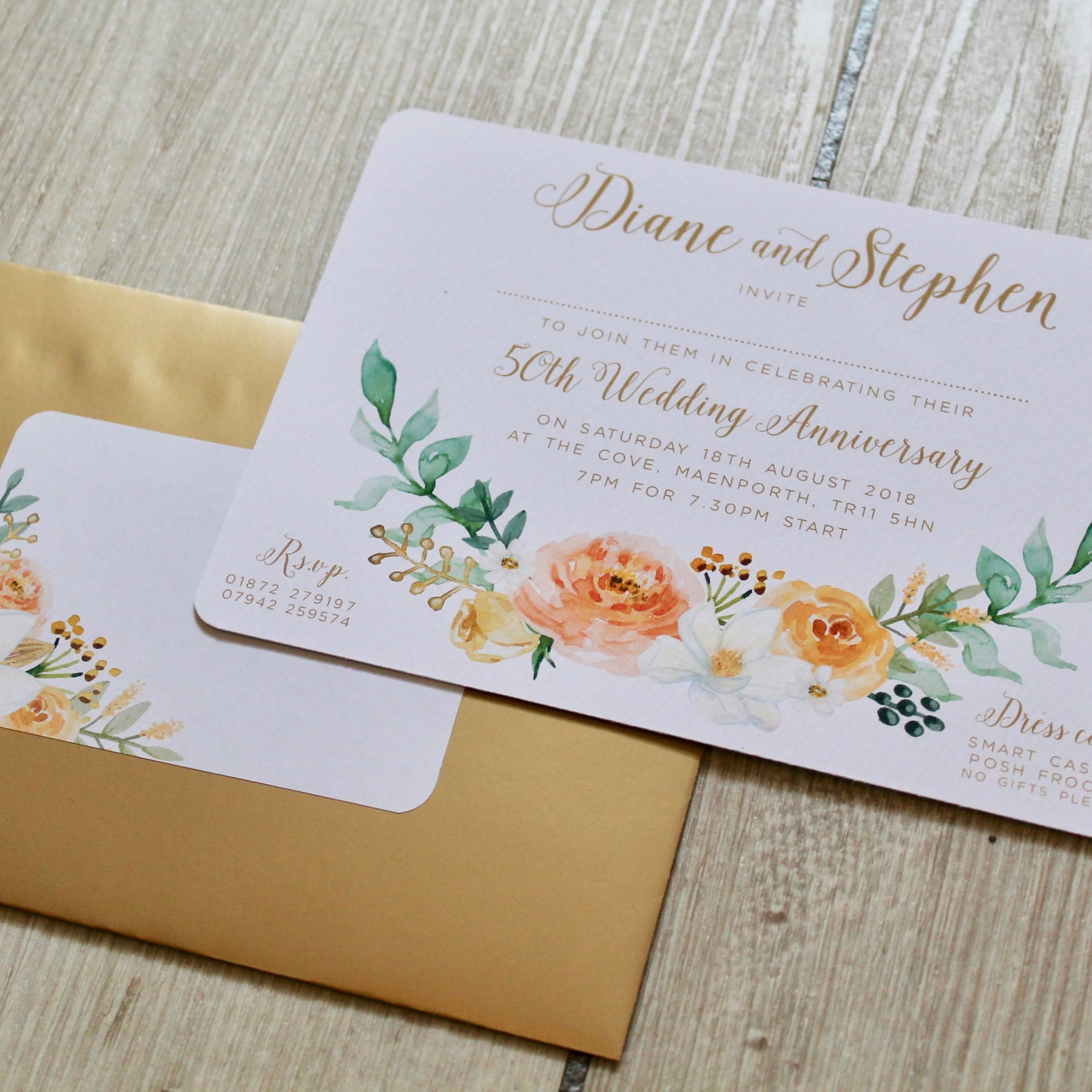 golden, wedding, anniversary, floral, flowers, invite, invitation, stationery, stationary, quality, unusual, watercolour, metallic, Laura likes