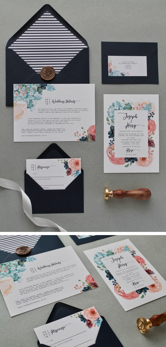 navy, blush, hydrangea, wild, flowers, cottage, garden, botanical, floral, wedding, stationery, stationary, invitation, invitations, rsvp, info, card, wax seal, envelope, liner, cornwall, Cornish, coastal, seaside