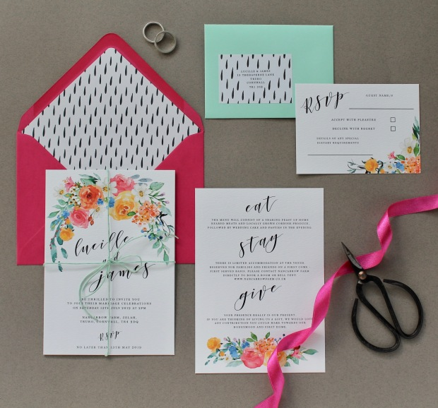 bright, wedding, stationery, stationary, invitation, invites, invite, invitations, colourful, colour pop, fuchsia, orange, mint green, modern, contemporary, yellow, sunny, summer, spring, floral, watercolour, flowers, cornwall, Laura likes, stationer, Cornish,