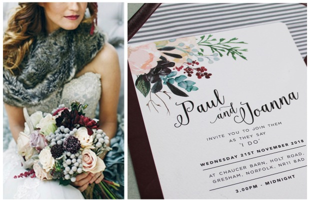 winter, wedding, stationery, stationary, invites, invitations, subtle, cool tones, wintery, Burgundy, marsala, floral, flowers, watercolour, envelope liner, Cornwall, stationer, Devon, Laura likes