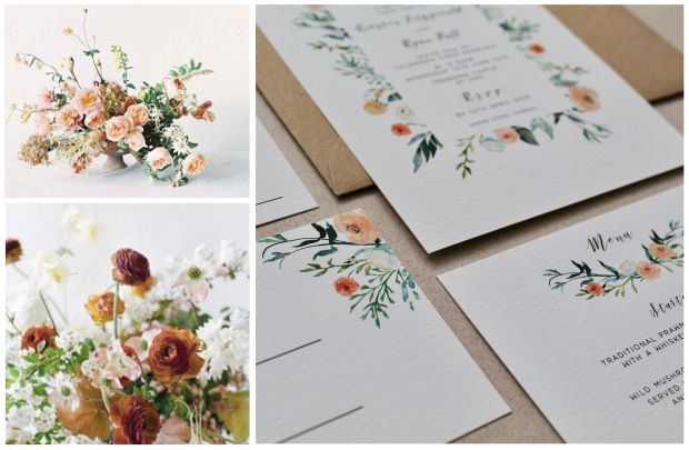 floral wedding invitations, invites, stationery, stationary, sepia, washed out, neutrals, botanicals, faded grandeur, cornwall, stationer, illustrations, floral, watercolour, Laura likes
