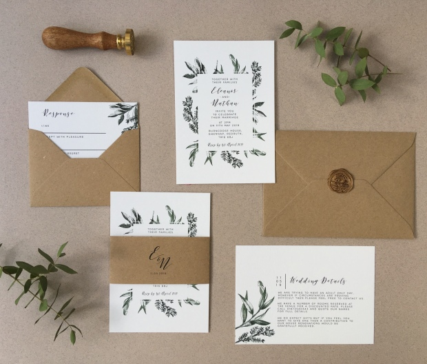 nordic, kinfolk, laura likes, cornwall, woodland, rustic, botanical, leafy, green and white, simple, minimal, wedding invitation, invitations, wedding invite, invites, response, cornwall