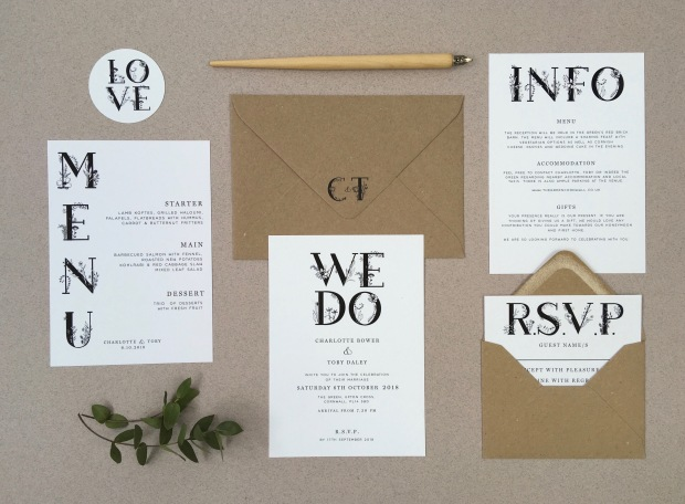 contemporary, wedding , stationery, stationary, floral, wildflowers, black and white, invitations, invites, rustic, simple, printed envelopes, manilla, eco, cornwall, Cornish, Laura likes