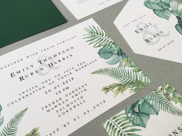 invitation invitations invite invites cornwall laura likes stationery stationary wedding botanical palm leaf leaves cheese plant fern native wild flowers flower plants exotic tropical lush green white destination eucalyptus geometric