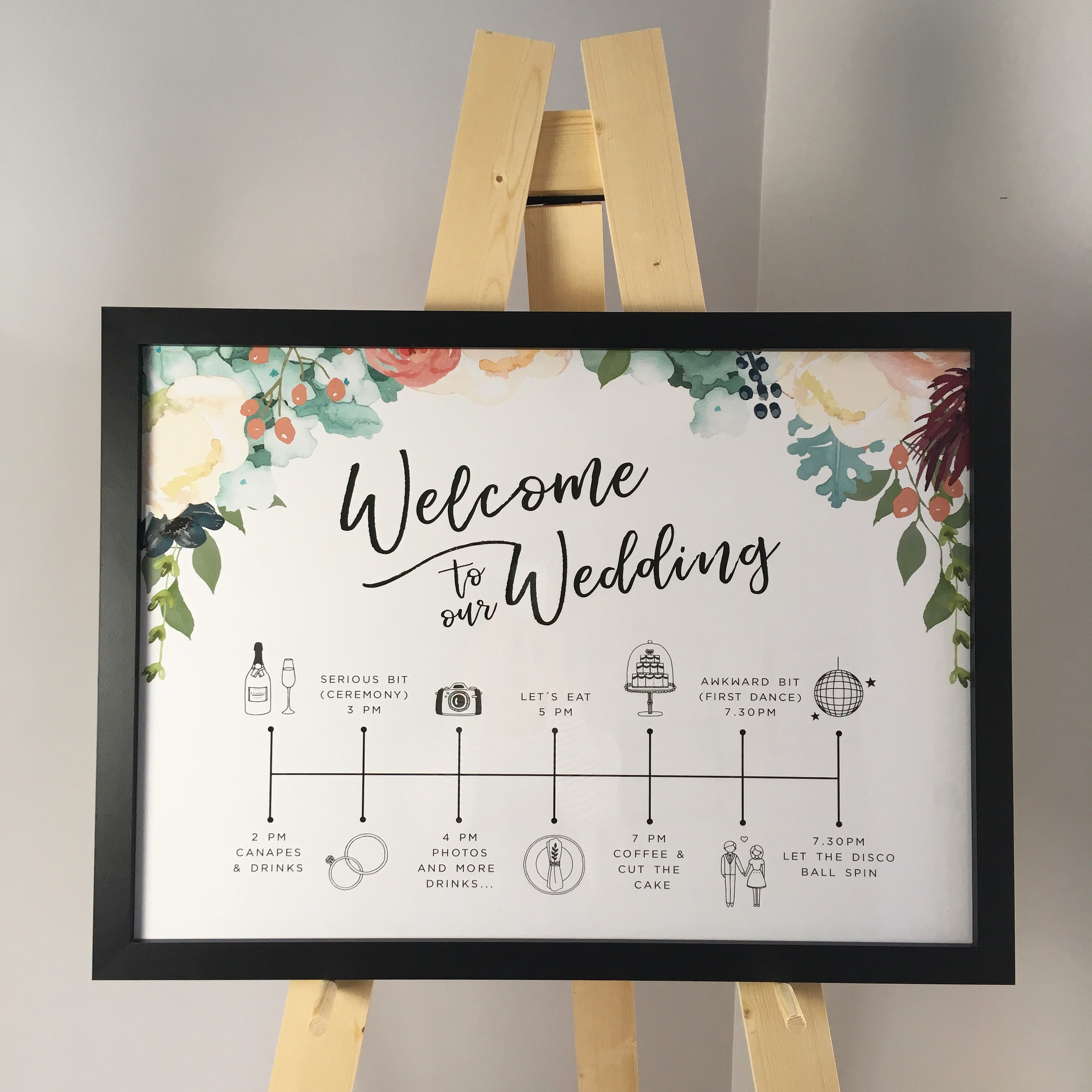 wedding, print, poster, order of the day, order of events, timeline, reception, stationery, floral, watercolour, contemporary, Cornwall, Laura likes