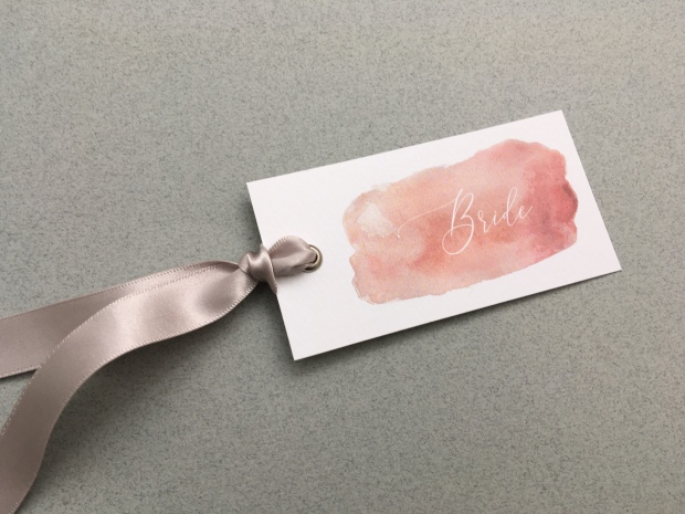watercolour, name, tag, place, card, favour, wedding, stationery, reception, ribbon, luxury, table, details, Cornwall, Laura likes