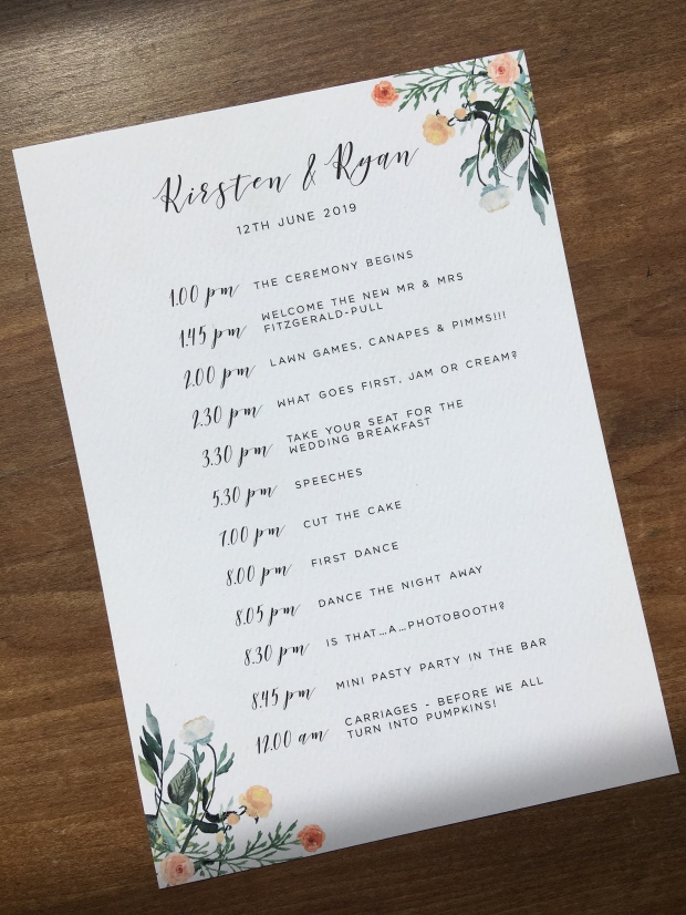 wedding, print, postcard, order of the day, order of events, timeline, reception, stationery, floral, watercolour, contemporary, Cornwall, Laura likes