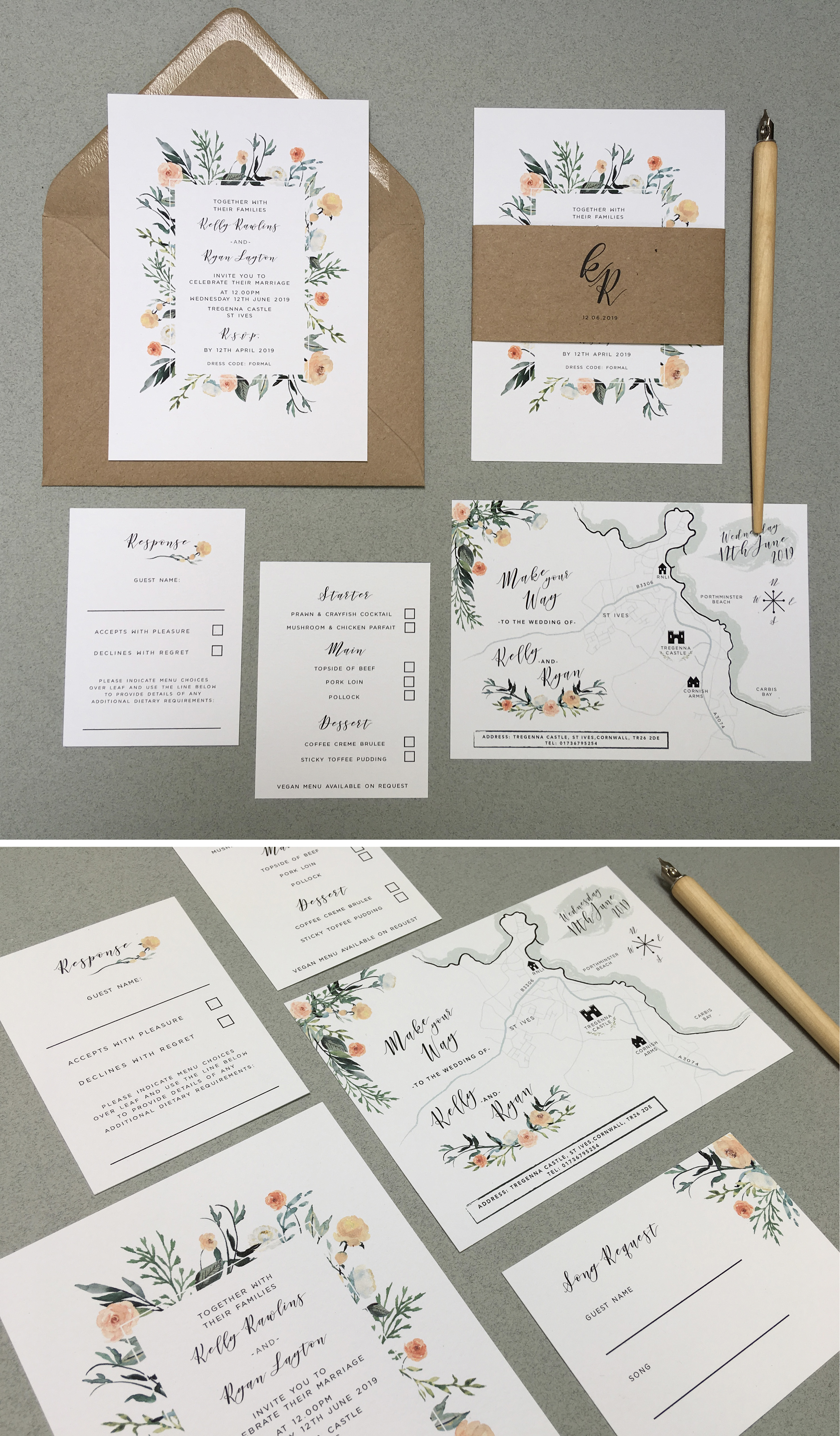 wedding, stationery, stationary, invites, invitations, floral, flowers, sepia, creams, washed out, faded, grandeur, neutral, subtle, botanical, foliage, water colour, watercolour, illustrated, eco, natural, recycled, cornwall, Laura likes