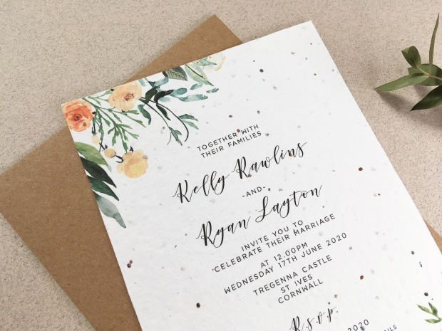 wedding, invitation, invite, invitations, invites, stationery, stationary, seed, paper, plantable, handmade, eco, sustainable, recycled, zero waste, uk, Cornwall, floral, watercolour, sepia, washed out, neutral, orange, cream, beige, foliage, Laura likes