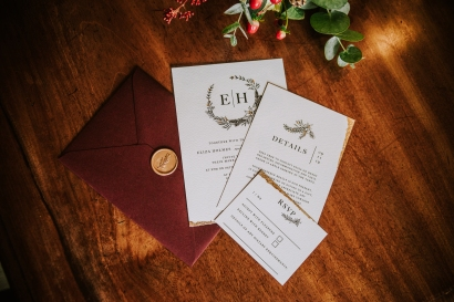 wedding, stationery, invitation, invitations, stationary, invite, invites, eco, gold, leaf, Christmas, winter, holly, foliage, wreath, rich, warm,