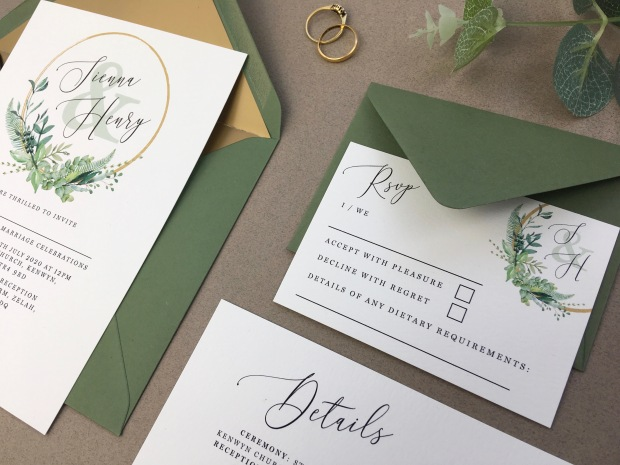 wedding, invitation, stationery, Cornwall, uk, invite, invitations, invites, stationary, foliage, greenery, hoop, floral, flowers, gold, olive, simple, watercolour, moongate, moon, gate,