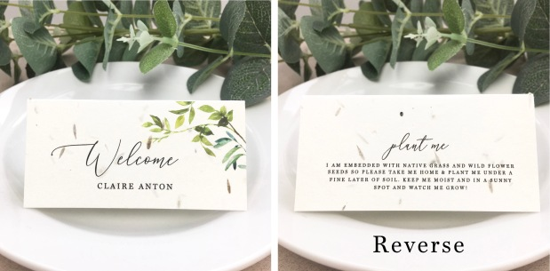 eco, seed, paper, wedding, stationery, friendly, stationary, invitations, invitation, invite, invites, name, card, place, guest, foliage, leafy, green, Cornwall, uk