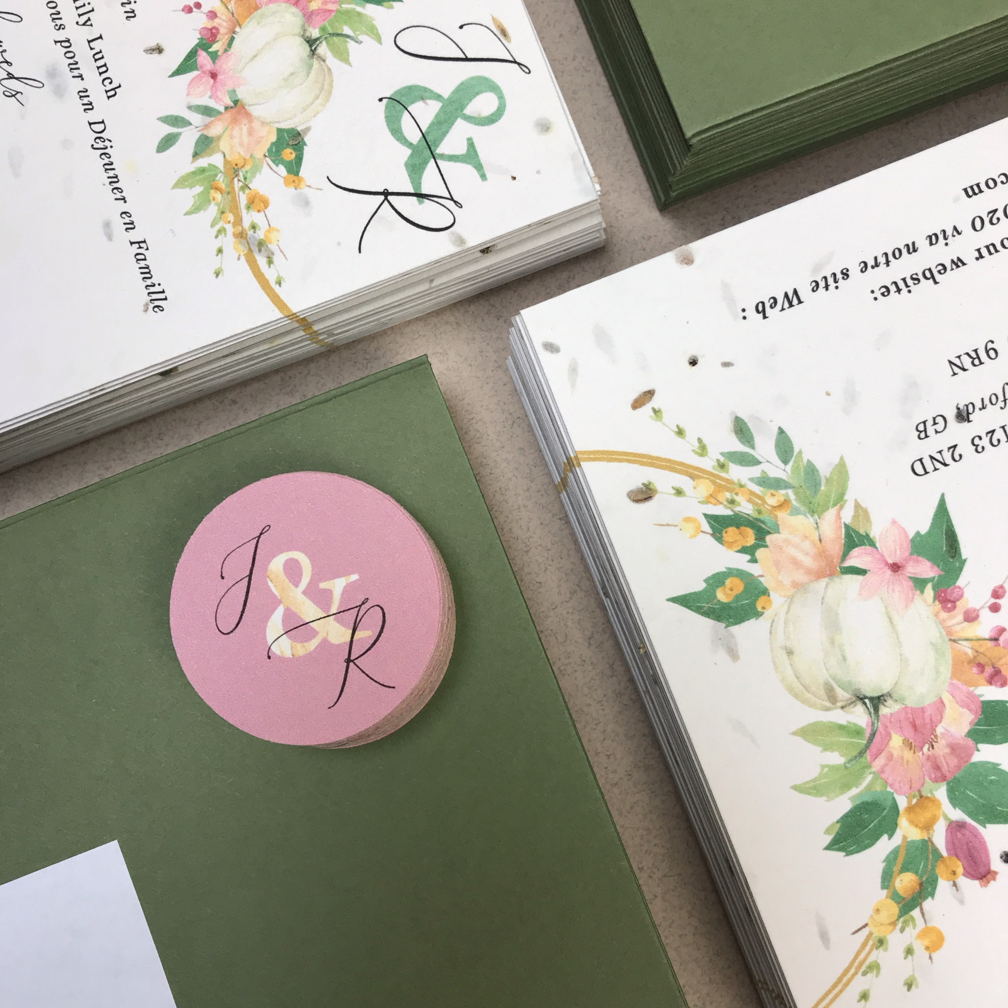 pumpkin, autumn, autumnal, hoop, fall, gold, seed paper, blush, boho, simple, foliage, green, pink, wedding, invitation, invites, invitations, eco, recycled, Cornwall, Cornish, stationery, Laura Likes