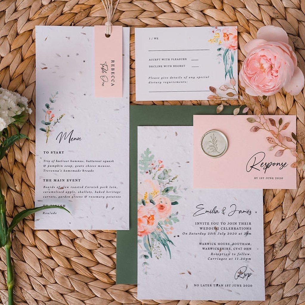 seed paper, blush, peach, sage, boho, simple, foliage, green, pink, wedding, invitation, invites, invitations, eco, recycled, Cornwall, Cornish, stationery, Laura Likes