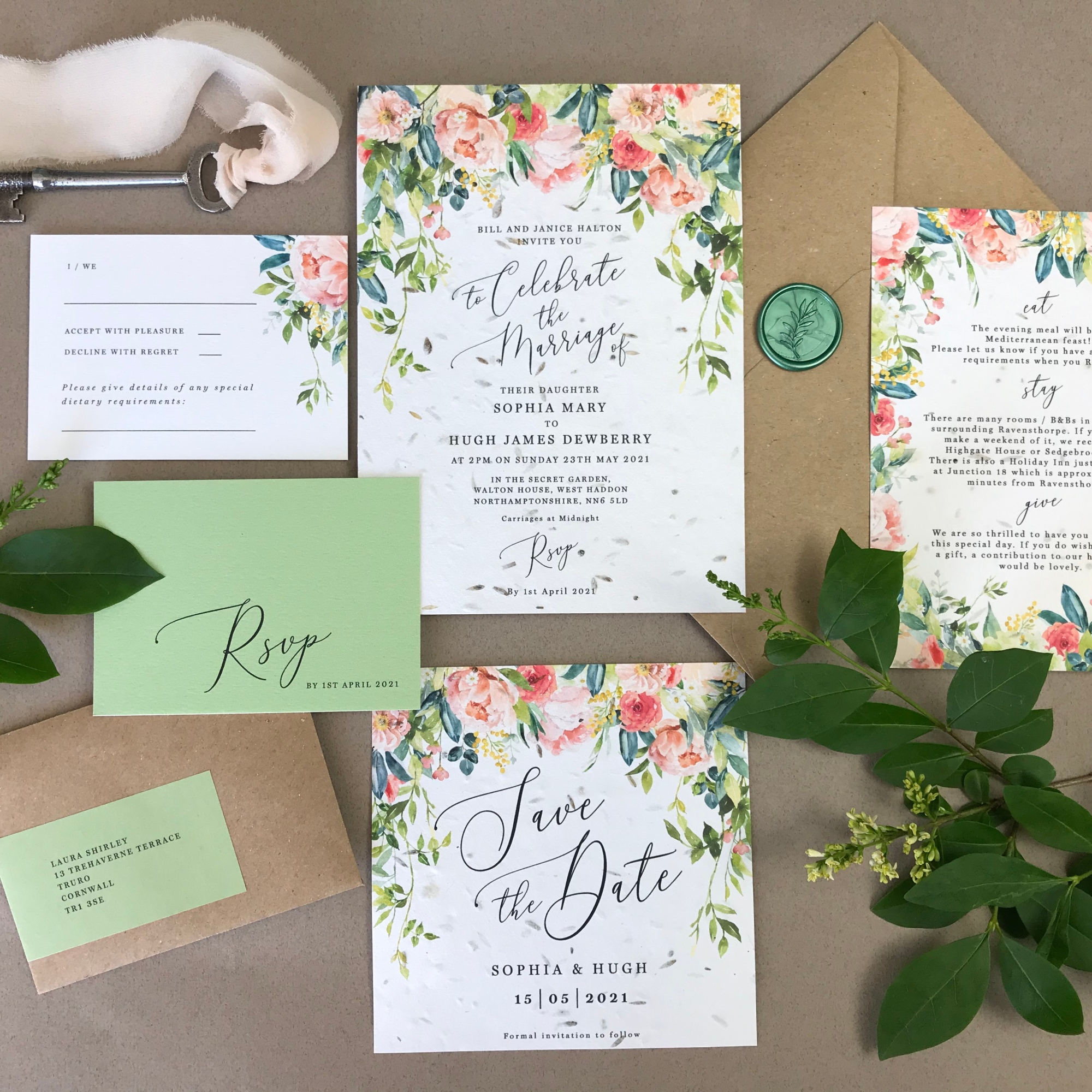 peonies, roses, peony, rose, wild, overgrown, secret, garden, blush, boho, simple, foliage, green, pink, vines, vine, wedding, invitation, invites, invitations, eco, recycled, Cornwall, Cornish, stationery, Laura Likes